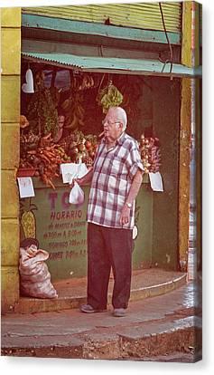 Canvas Print featuring the photograph Havana Cuba Corner Market by Joan Carroll