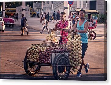 Canvas Print featuring the photograph Havana Cuba Onion Cart by Joan Carroll