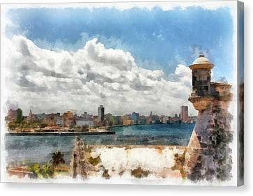 Havana From El Morro Canvas Print by Dawn Currie
