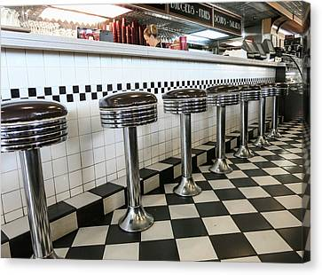 Old Diner Seating Canvas Print - Have A Seat by Phyllis Taylor