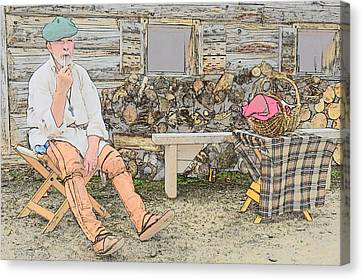 Colonial Man Canvas Print - Having A Pipe by Robert Nelson