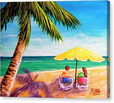 Hawaii Beach Yellow Umbrella #470 Canvas Print by Donald k Hall