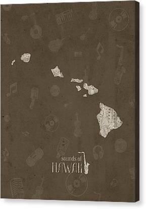 Hawaiian Rock Art Canvas Print - Hawaii Map Music Notes 3 by Bekim Art
