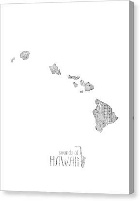 Hawaiian Rock Art Canvas Print - Hawaii Map Music Notes by Bekim Art
