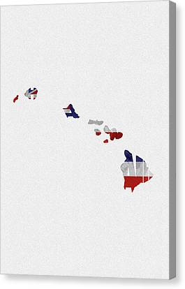 Canvas Print featuring the painting Hawaii Typographic Map Flag by Inspirowl Design