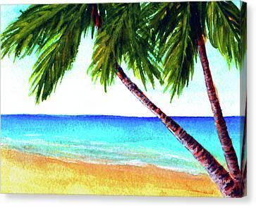 Hawaiian Beach Palm Trees  #425 Canvas Print by Donald k Hall