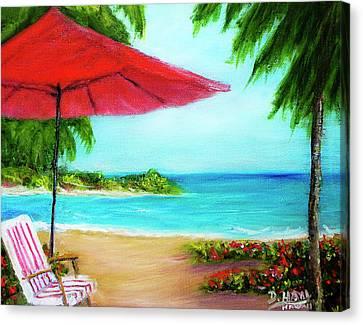 Hawaiian Beach Wave Art Print Painting #441 Canvas Print by Donald k Hall