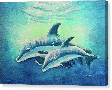 Hawaiian Dolphins  #389 Canvas Print by Donald k Hall