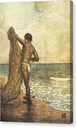 Hawaiian Fisherman Painting Canvas Print