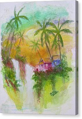 Hawaiian Homestead In The Valley #460 Canvas Print by Donald k Hall