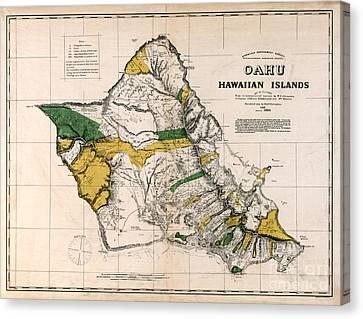 Hawaiian  Islands Map 1881 Canvas Print by Jon Neidert