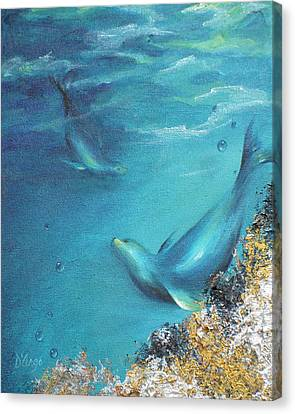 Canvas Print featuring the painting Hawaiian Monk Seals by Dina Dargo