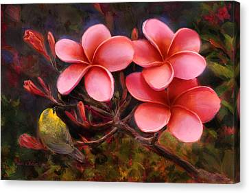 Canvas Print featuring the painting Hawaiian Pink Plumeria And Amakihi Bird by Karen Whitworth