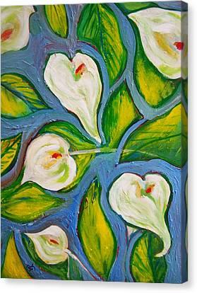 Patricia Taylor Canvas Print - Hawaiian Print With Calla Lilies by Patricia Taylor