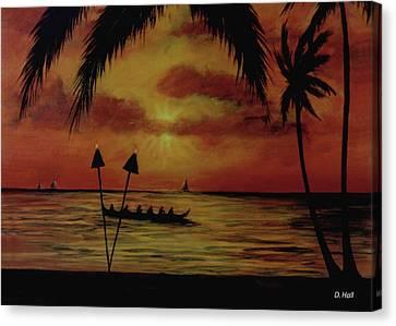 Hawaiian Sunset Paddlers #283 Canvas Print by Donald k Hall