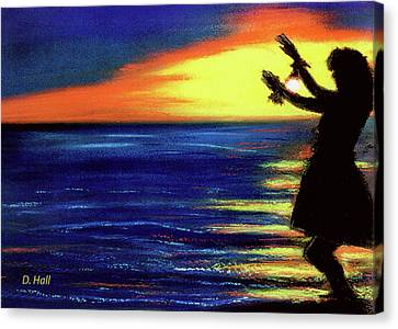 Hawaiian Sunset With Hula Dance  #183, Canvas Print by Donald k Hall