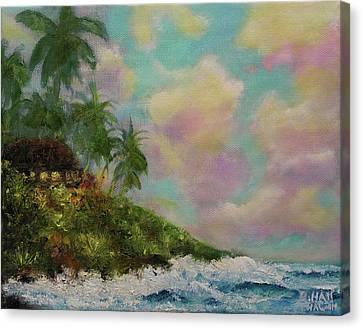 Hawaiian  Twilight Beach Wave Art Print Painting #423 Canvas Print by Donald k Hall