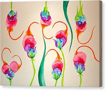 Canvas Print featuring the painting Hawaiian Warrior Upside-down Flowers by Erika Swartzkopf