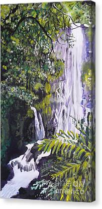 Canvas Print featuring the painting Hawaiian Waterfall by Terri Thompson