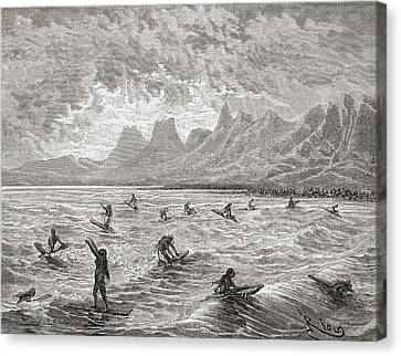 Hawaiians Surfing In The 19th Century Canvas Print