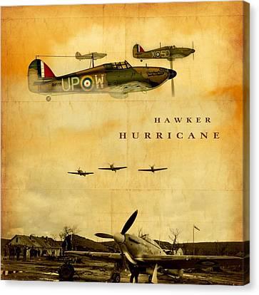 Canvas Print featuring the digital art Hawker Hurricane Raf by John Wills