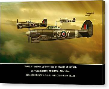 Canvas Print featuring the digital art Hawker Typhoon Sqn 56 by John Wills