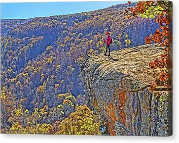 Hawksbill Crag Hiker Canvas Print by Dennis Cox WorldViews