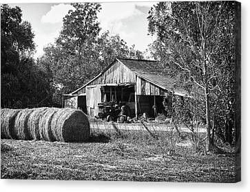 Hay And The Old Barn - Bw Canvas Print by Michael Thomas