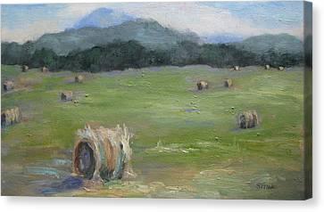 Hay Bales And Pinnacle Canvas Print