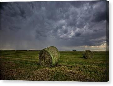 Hay Bales And Rain  Canvas Print