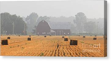 Hay Bales And Red Barn At Sunrise Canvas Print