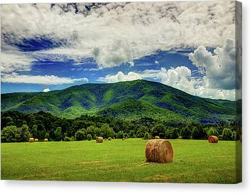 Hay Bales In The Smokies Canvas Print by Mike Eingle