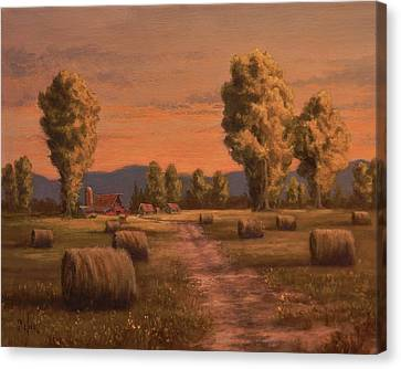 Hay Bales Canvas Print by Paul K Hill