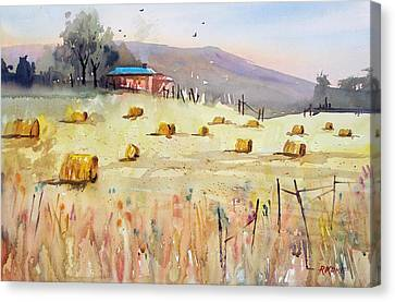 Hay Bales Canvas Print by Ryan Radke