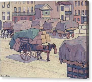 The Horse Canvas Print - Hay Carts, Cumberland Market by Robert Bevan