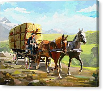 Hay Delivery Man Canvas Print by Anthony Mwangi