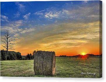 Hay Down Sunset Canvas Print by Reid Callaway