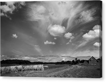 Hay Field And Barn Clarks Lake Road Canvas Print by Stephen Mack