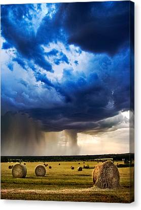 Bales Canvas Print - Hay In The Storm by Eric Benjamin