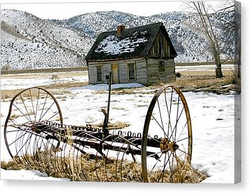 Hay Rake At Butch Cassidy Canvas Print by Nelson and Cheryl Strong
