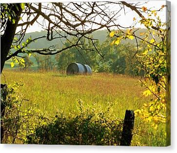 Hay Roll Meadow Canvas Print