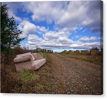 Canvas Print featuring the photograph Hay Sofa Sky by Alan Raasch