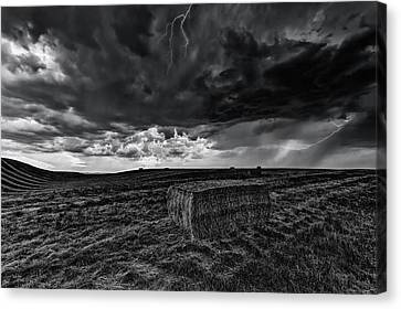 Hay Storm Black And White Canvas Print