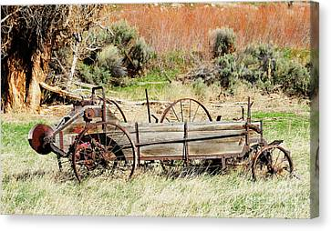 Hay Wagon At Butch Cassidy's Home Canvas Print by Dennis Hammer