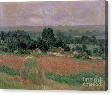 Meules Canvas Print - Haystack At Giverny by Claude Monet