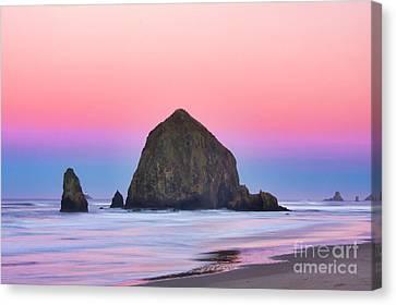 Haystack Rock At Dawn Canvas Print