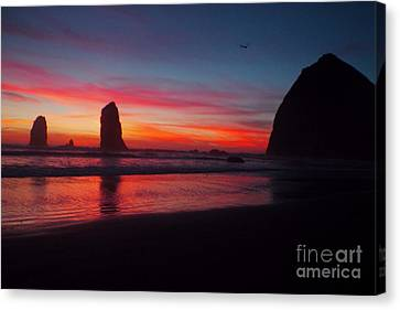Haystack Rock At Sunset 2 Canvas Print