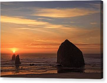 Haystack Rock Sunset, Cannon Beach, Oregon Canvas Print by Kay Brewer