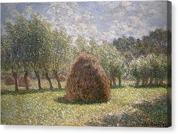 Haystacks At Giverny Canvas Print by Claude Monet