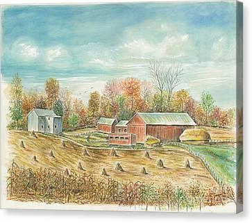Haystacks At The Farm Canvas Print by Samuel Showman